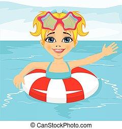 lindo, niña, nadar en el consorcio, con, timbre inflable