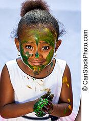 lindo, niña, pintura, session., africano
