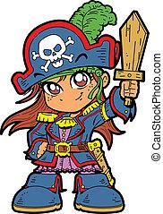 lindo, niña, pirata