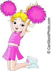 lindo, niña, saltar, cheerleading