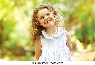 lindo, niño, brillado, con, felicidad, pelo rizado,...