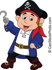 lindo, niño, caricatura, pirata