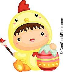lindo, niño, en, pollo, pascua, disfraz