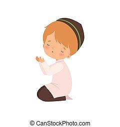 lindo, niño, musulmán, carácter, ilustración, arrodillar, vector, rezando, caricatura