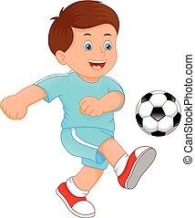 lindo, niño pequeño, jugador del fútbol