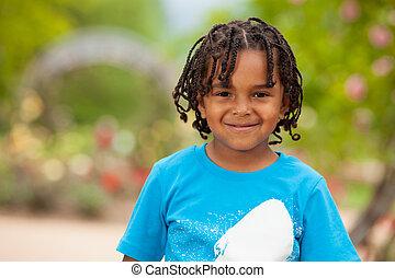 lindo, niño pequeño, norteamericano, africano, retrato