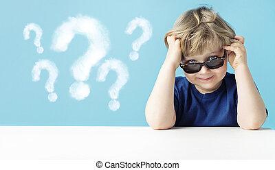 lindo, niño pequeño, preguntas