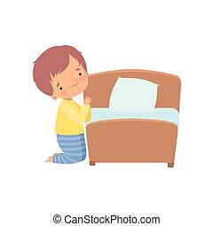 lindo, niño pequeño, yendo, carácter, cama, vector, ilustración, rezando, antes