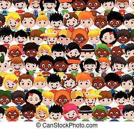 lindo, niños, caricatura, colección