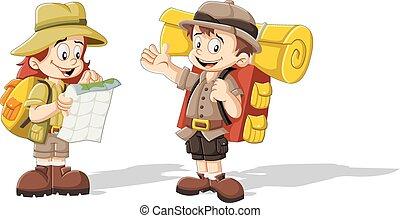 lindo, niños, caricatura, explorador