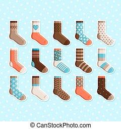 lindo, niños, colorido, calcetines, pegatinas, caricatura
