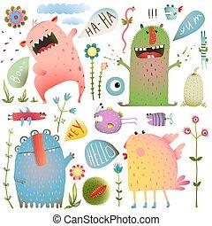lindo, niños, colorido, colección, diseño, diversión, discurso, burbujas, flores, monstruos
