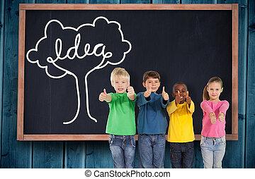 lindo, niños, imagen compuesta, arriba, pulgares, actuación
