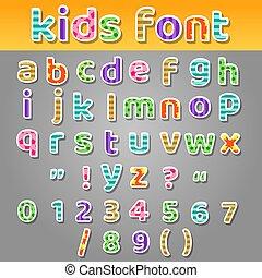lindo, niños, labor de retazos, patrones, alfabeto