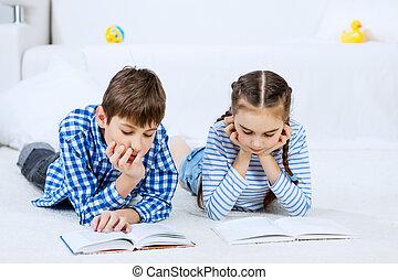 lindo, niños, lectura, libros