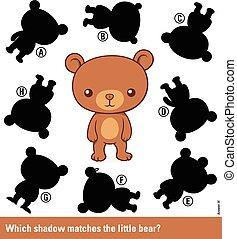lindo, niños, rompecabezas, -, oso, sombra, igual