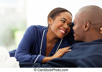 lindo, norteamericano, Coquetear,  Afro, pareja