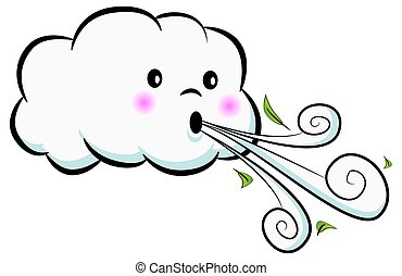 lindo, nube, soplar, viento