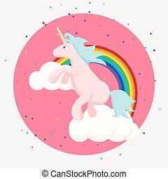 lindo, nubes, arco irirs, tshirt, unicornio, feliz, design.