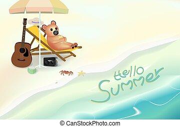 lindo, oso, jugo, mientras, costa, naranja, bebida, silla,...