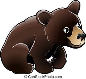 lindo, oso, norteamericano, vector, negro, ilustración
