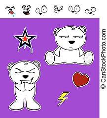 lindo, oso polar, bebé, set8, caricatura