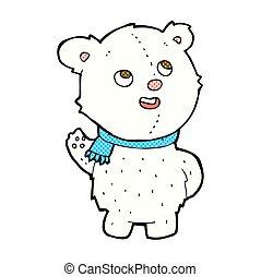 lindo, oso polar, cachorro, cómico, caricatura