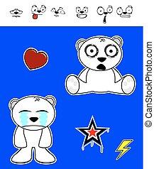 lindo, oso polar, set7, bebé, caricatura