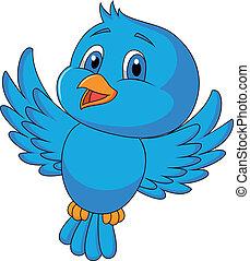 lindo, pájaro azul, caricatura