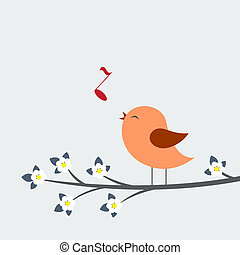 lindo, pájaro, canta