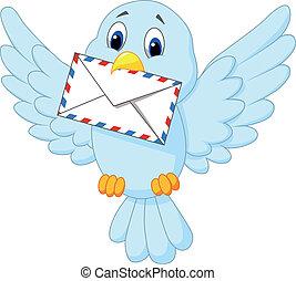 lindo, pájaro, caricatura, carta, entregar