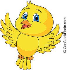 lindo, pájaro, caricatura, vuelo