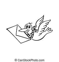 lindo, pájaro, entregar, carta