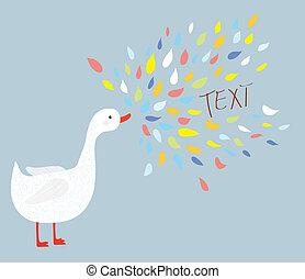 lindo, pájaro, ganso, con, mensaje, lugar