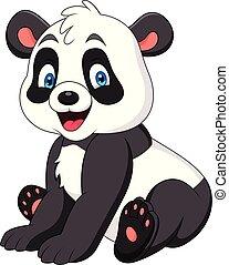 lindo, panda, caricatura
