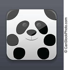 lindo, panda, icono