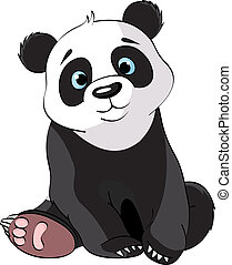 lindo, panda, sentado