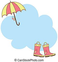 lindo, paraguas, botas de lluvia