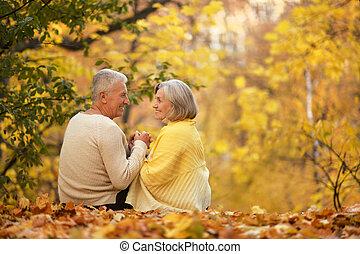 lindo, pareja, anciano