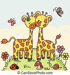 lindo, pareja, jirafa, bosque, plano de fondo