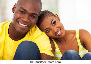 lindo, pareja, negro, encima de cierre