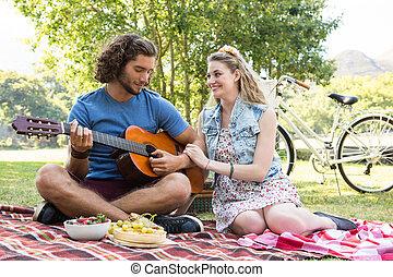 lindo, pareja, tener un picnic