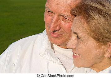 lindo, pareja, viejo, retrato