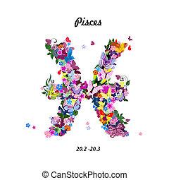 lindo, patrón, mariposas, -, señal, piscis, zodíaco