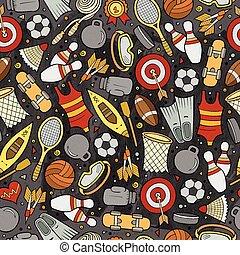 lindo, patrón, seamless, mano, dibujado, deporte, caricatura