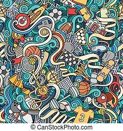 lindo, patrón, seamless, mano, doodles, dibujado, deporte, ...