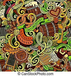 lindo, patrón, seamless, mano, octoberfest, doodles, ...