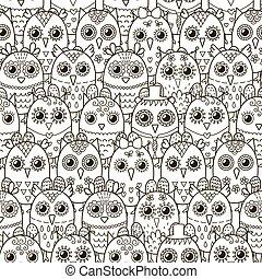 lindo, pattern., seamless, búhos, fondo negro, blanco
