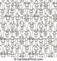 lindo, pattern., seamless, gatos, fondo negro, blanco