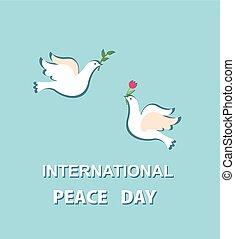 lindo, paz, tarjeta de felicitación, par, internacional, encantador, día, palomas